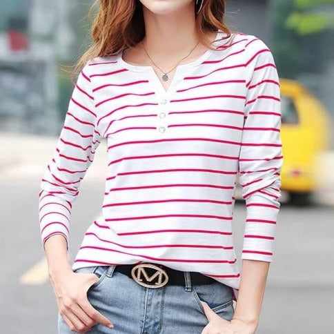 Button up Striped long Sleeved Top - S-5XL - 4 Colors