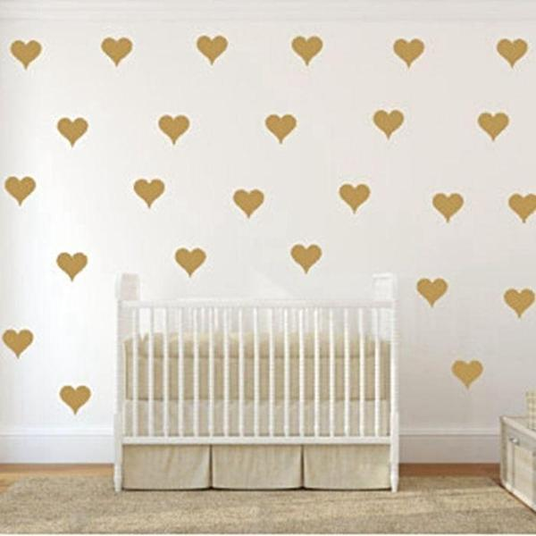 Gold Metallic Heart-shaped vinyl Wall Stickers - 4 Colors - 3 Sizes
