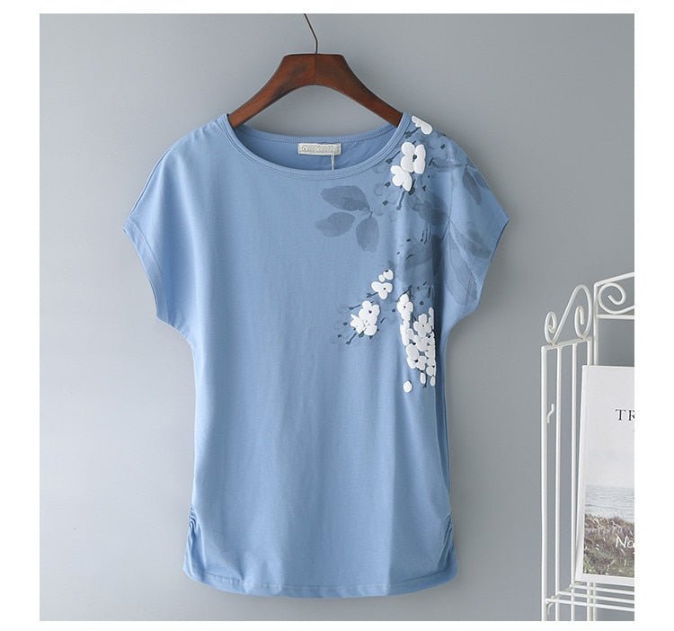 Leaves and Petals Short Sleeve Top 95% Cotton - M-4XL - 4 Colors