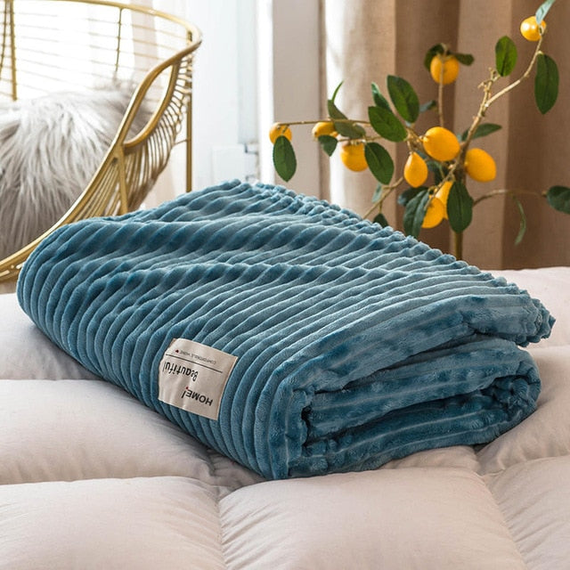 Soft Flannel Corduroy Throw Blanket - 6 Sizes - 7 colors