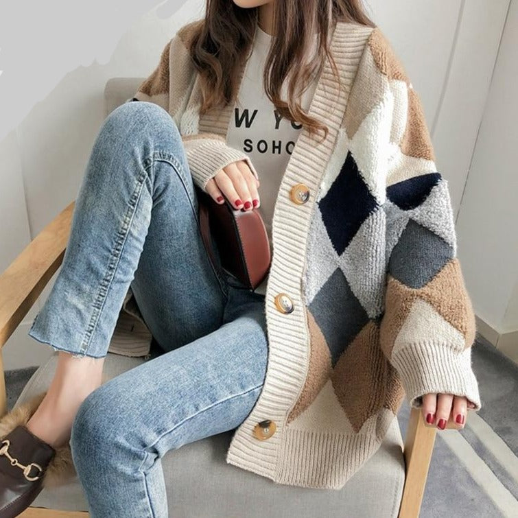 Autumn Argyle Casual Cardigan - One Size - 3 Colors