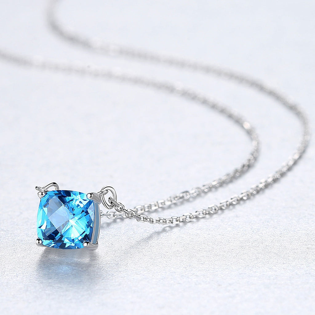 925 Sterling Silver Natural Blue Topaz Gemstone Necklace