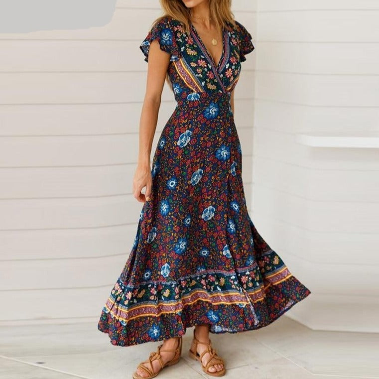 Nordic Floral Maxi V-neck Dress - S-XL - 7 Colors