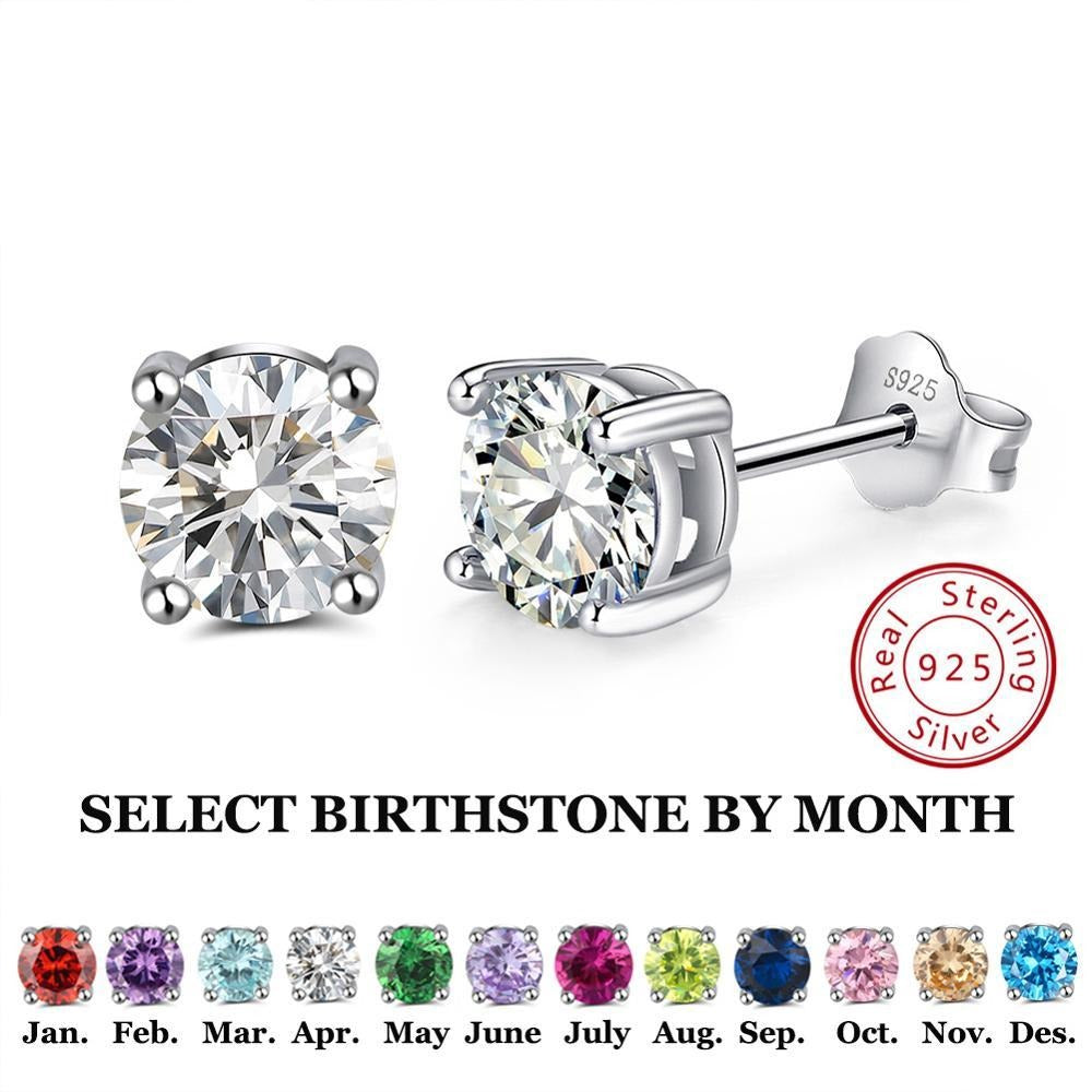 Sterling Faceted Round Stud Birthstone  Earrings - 12 Colors
