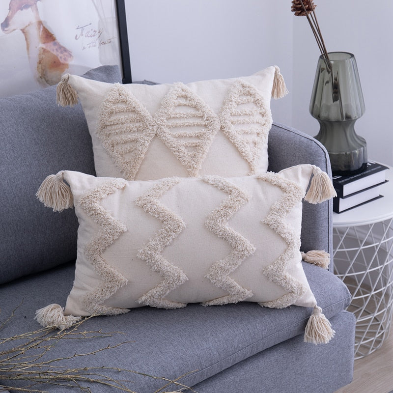 Tassels Beige Pillow Cover  - 2 Sizes - 5 Styles