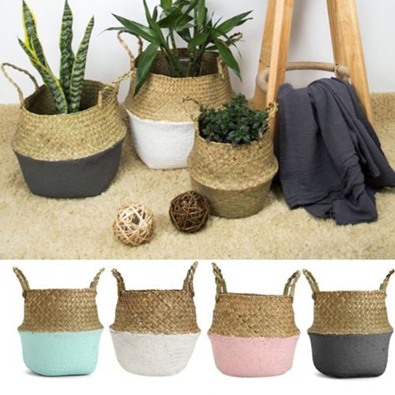 Woven Bamboo Foldable Storage Baskets - 4 Colors