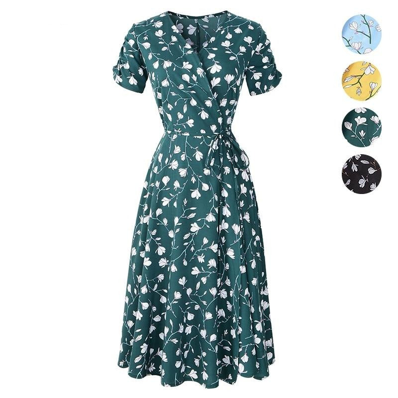 Elegant Floral Smash V-neck Floral Midi Dress - S-2XL - 4 Colors