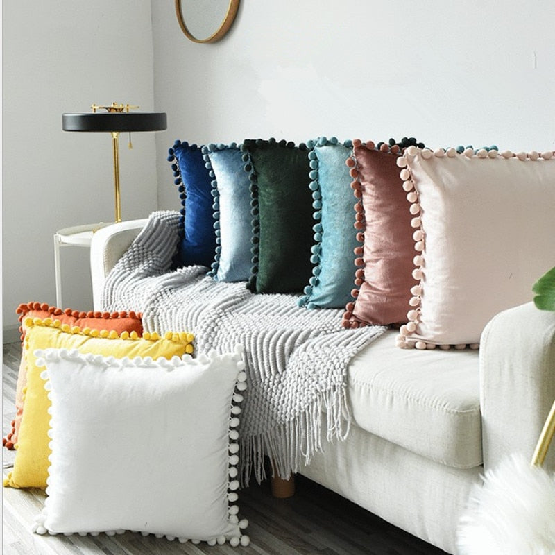 Velvet Pompom Chambre Pillow - 3 Sizes - 17 Colors