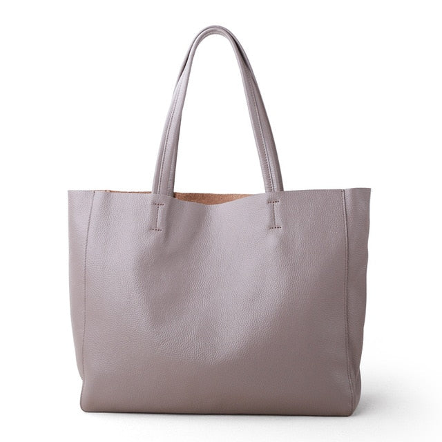 Soft Leather Shoulder Carry-All Tote Bag - 7 Colors - 2 Sizes
