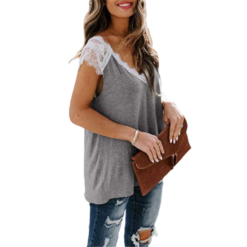Lacey Layering Top V-Neck T-shirt - S-5XL - 3 Colors