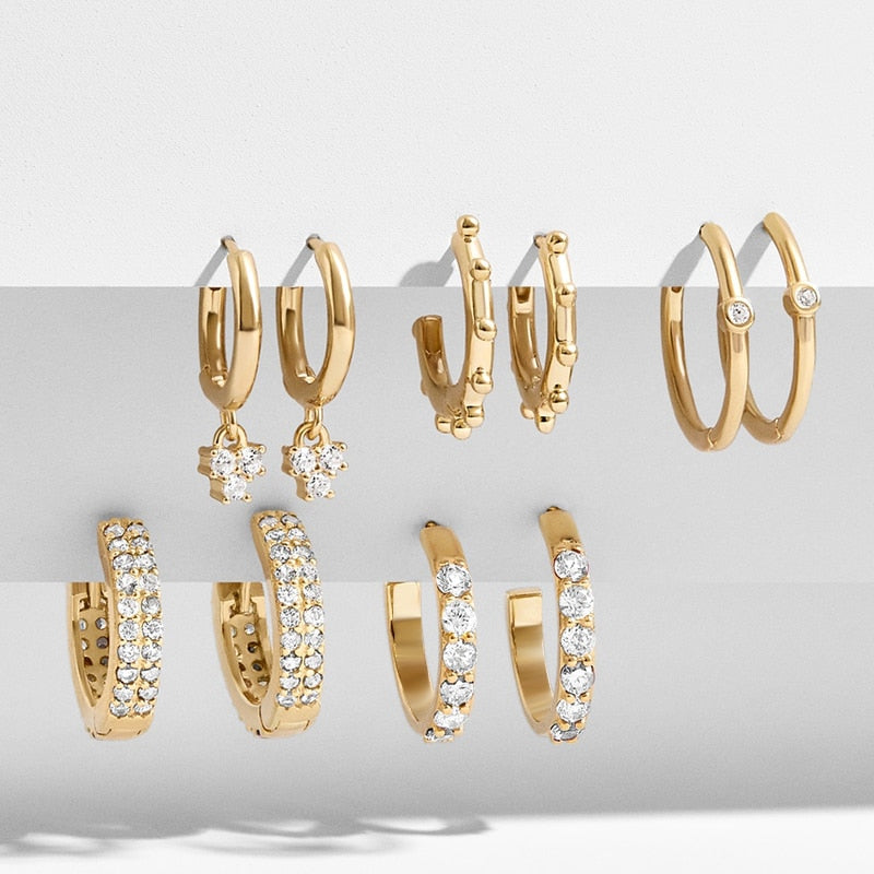 CZ Geometric Hoop Huggie Earrings Set - 5 Pairs