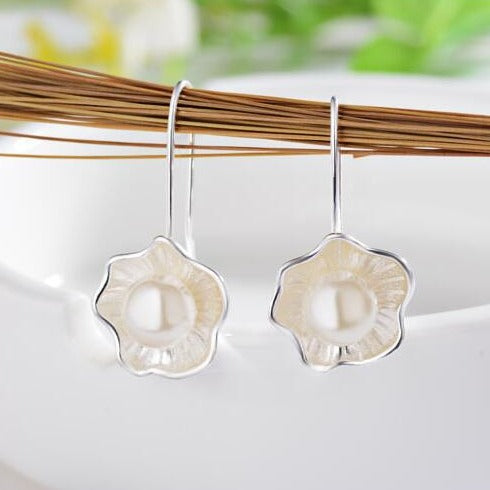 Lotus Faux Pearl Sterling Earrings