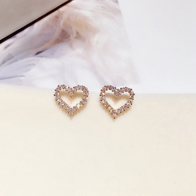 Heart Micro Pave Earrings - 2 Colors