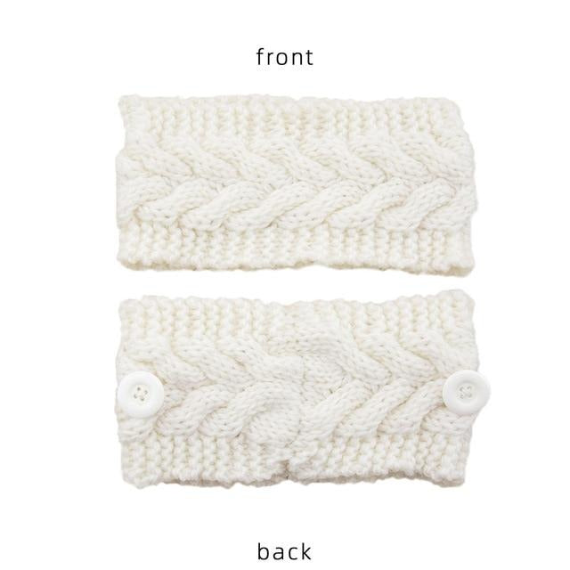 Winter Knit Headbands with Buttons - 33 Colors