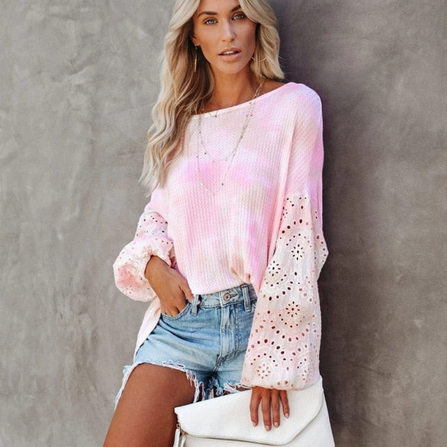 Layers of Lace Ruffle Sleeve Shirt - S-XL - 2 Colors