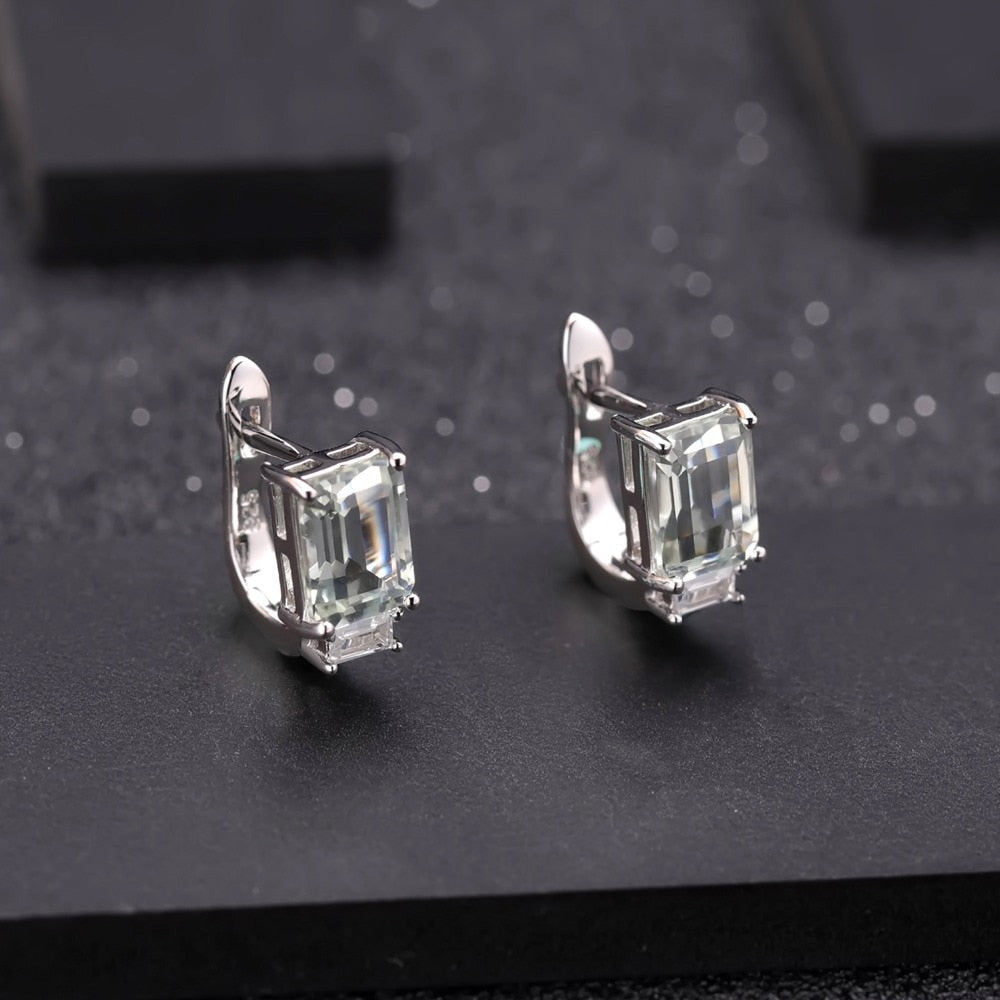 3.11Ct Natural Green Amethyst  925 Silver Stud Earrings