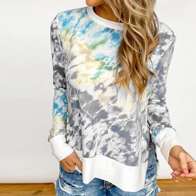 Color Tie Dyed Long Sleeved Shirt - M-3XL - 4 Colors
