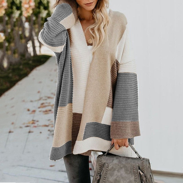Geometric Loose Cardigan Long Sweater - S-XL
