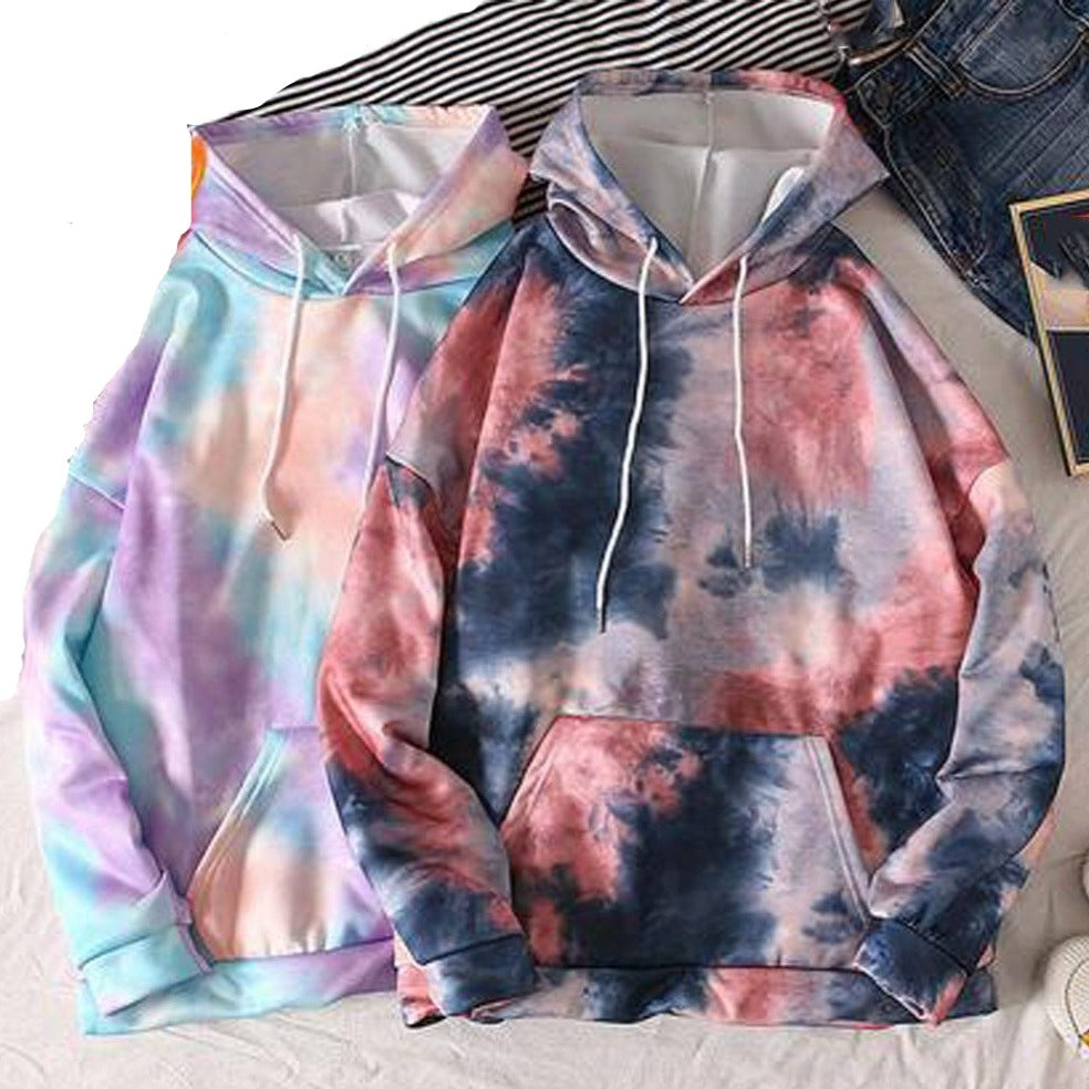 Tie-Dyed Hooded Thin Sweatshirt - M-3XL - 3 Colors