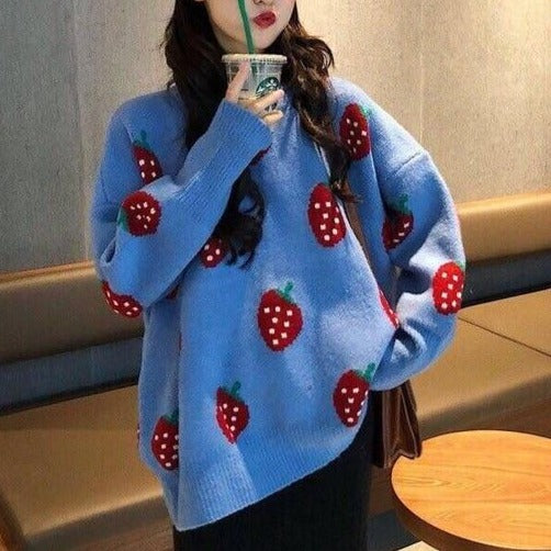 Strawberry Knitted Sweater - S-XL