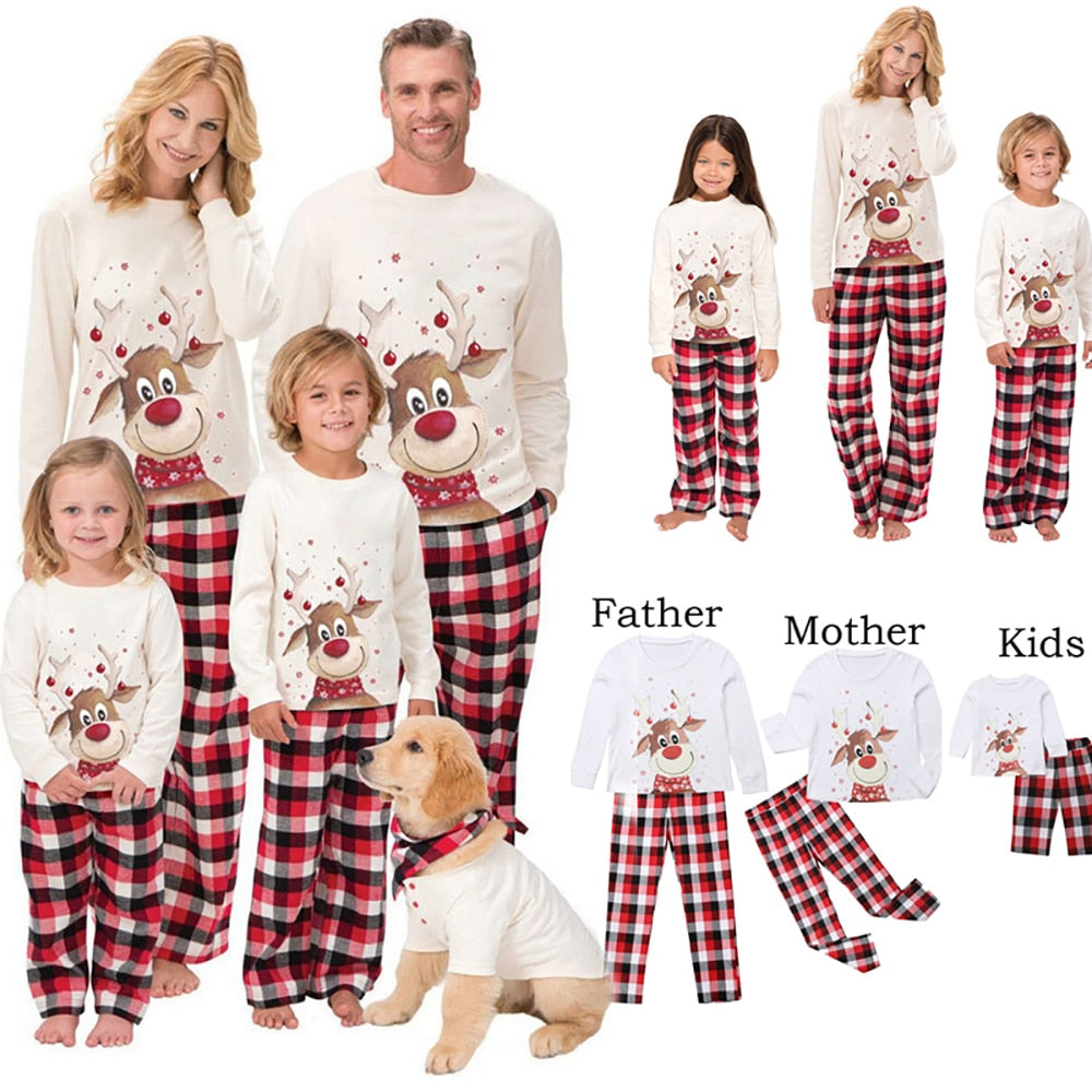 Christmas Reindeer Plaid Family Matching PJ's