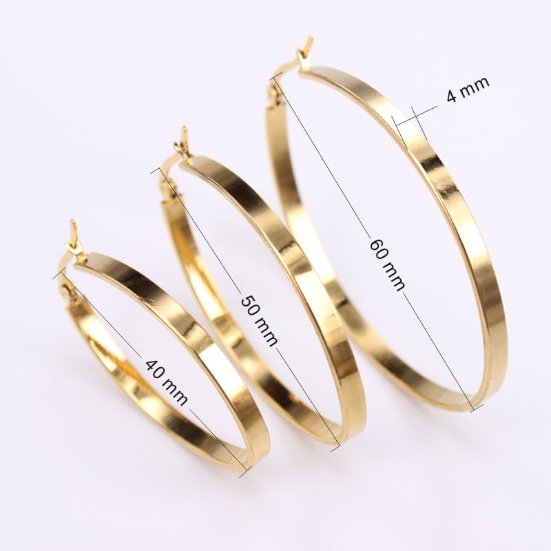 Flat Oval Smooth Hoop Earrings - 2 Colors - 3 Sizes