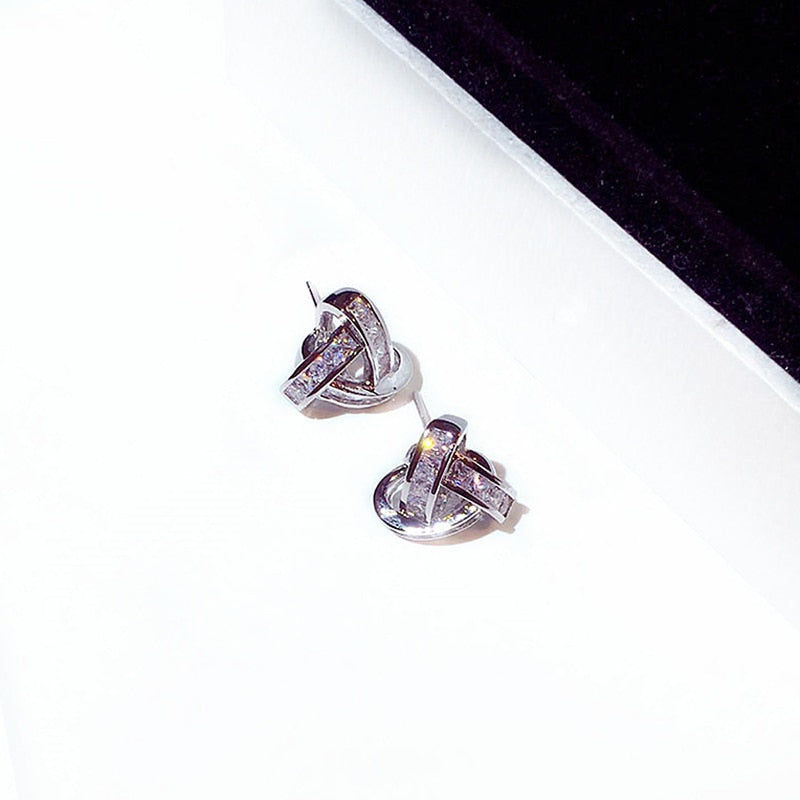 Elegant Twist CZ Buckle Stud Earrings