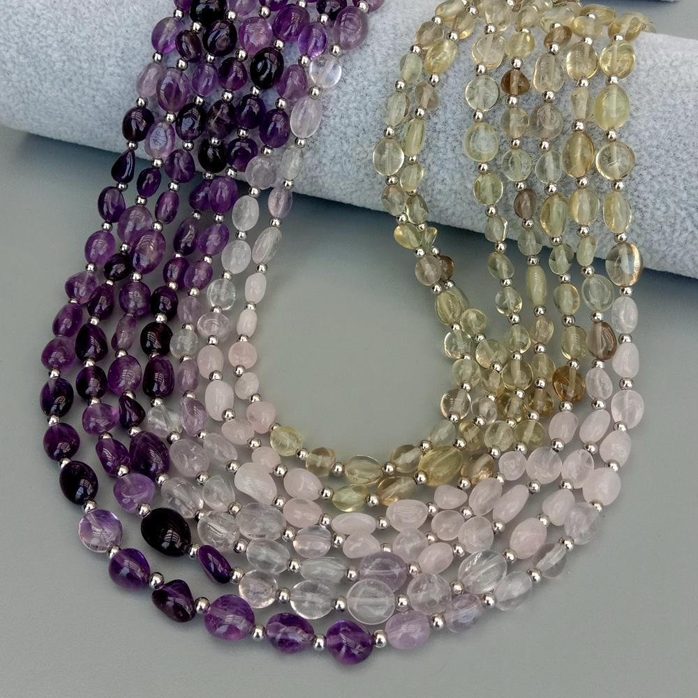 7 Wonders  Amethyst - Rose Quartz -  Lemon Quartz - Necklace 18""