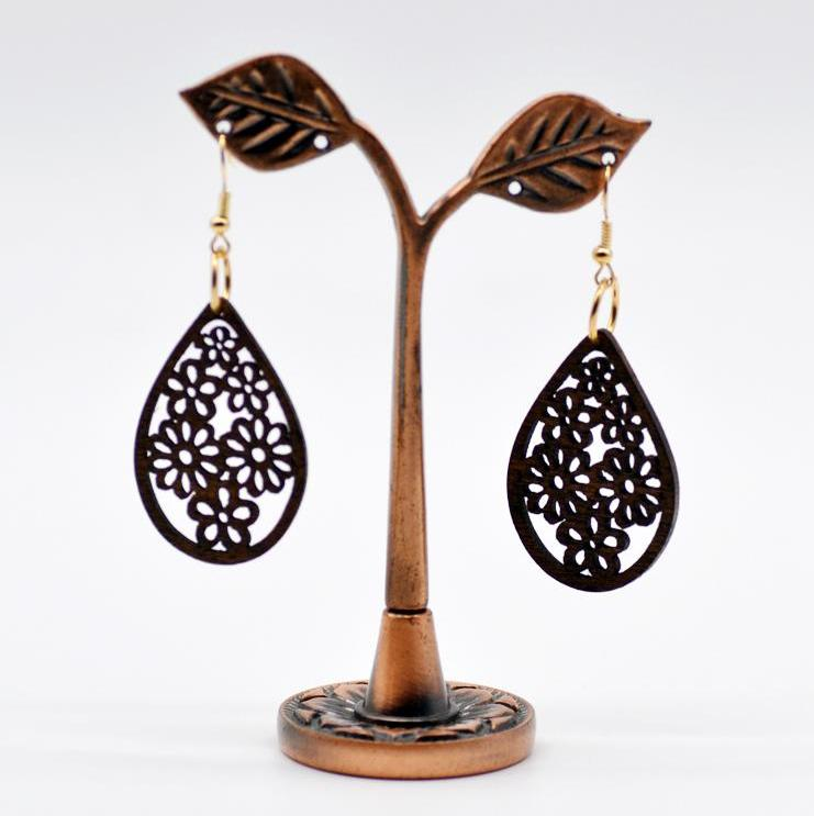Earring Drop Shaped Wood Floral Lasered Earrings 1 Pair
