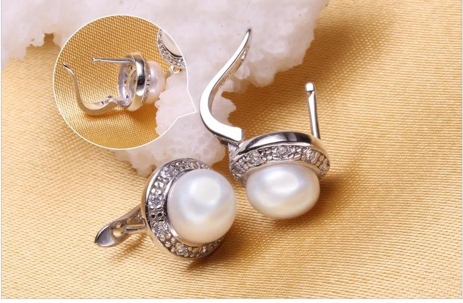 .925 Silver Freshwater Pearl Jewelry Set Necklace, Earrings, Ring