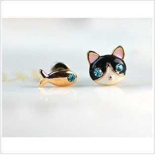 Cat and Fish Asymmetrical Earrings