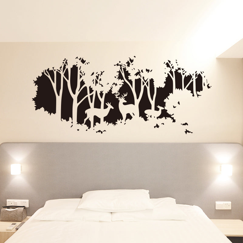 Lg. Deer In The Forest Of Trees Wall Mural - Vinyl Sticker - For Living Room /Bedroom