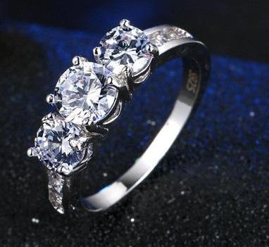 LOVE STORY STERLING SILVER RING WITH 3 CZ - Sz 6-9