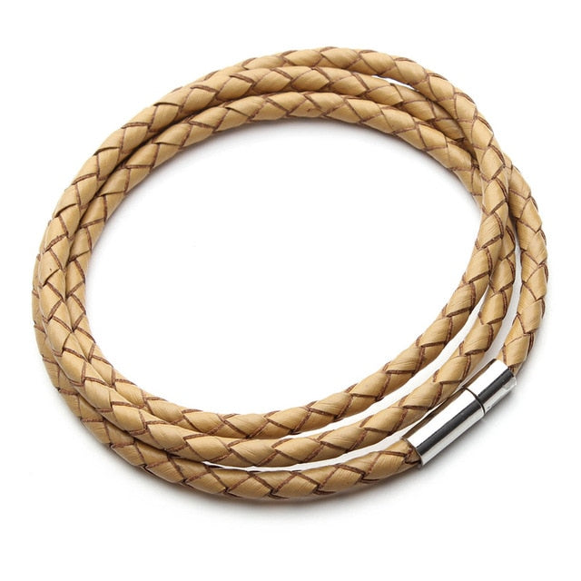 Braided Leather Magnetic Clasp Bracelet