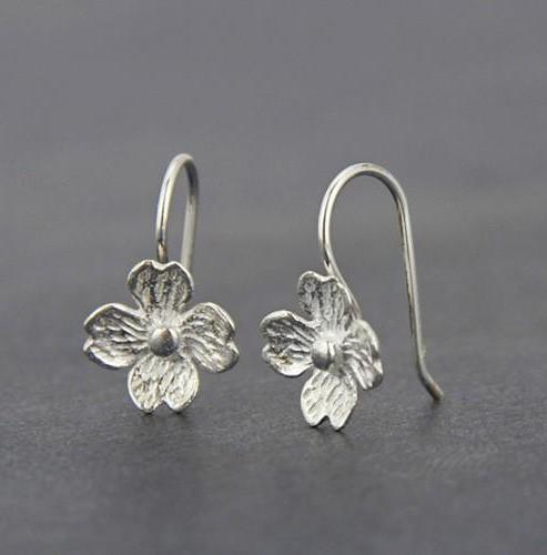 Dogwood Flower Sterling Silver Earrings