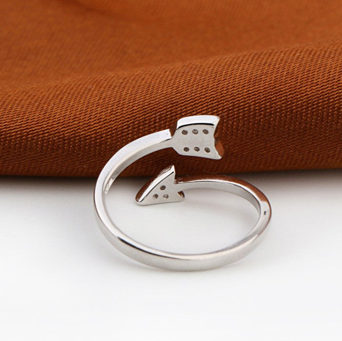 Silver Plated Arrow crystal rings Adjustable