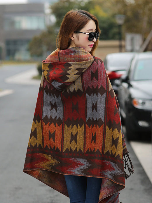 Ethnic Cape with Hood - One Size, 6 Colors