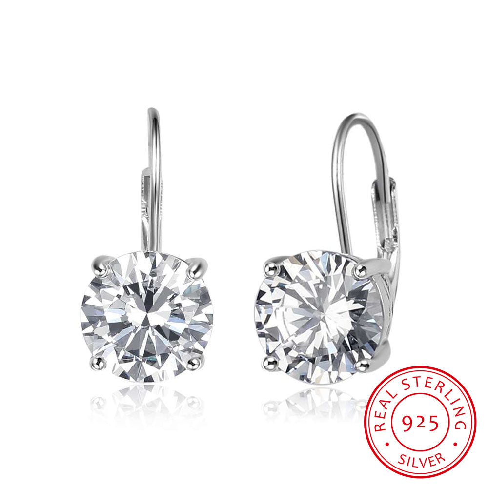 925 Sterling Silver Earrings for Women 8mm Cubic Zirconia Earrings