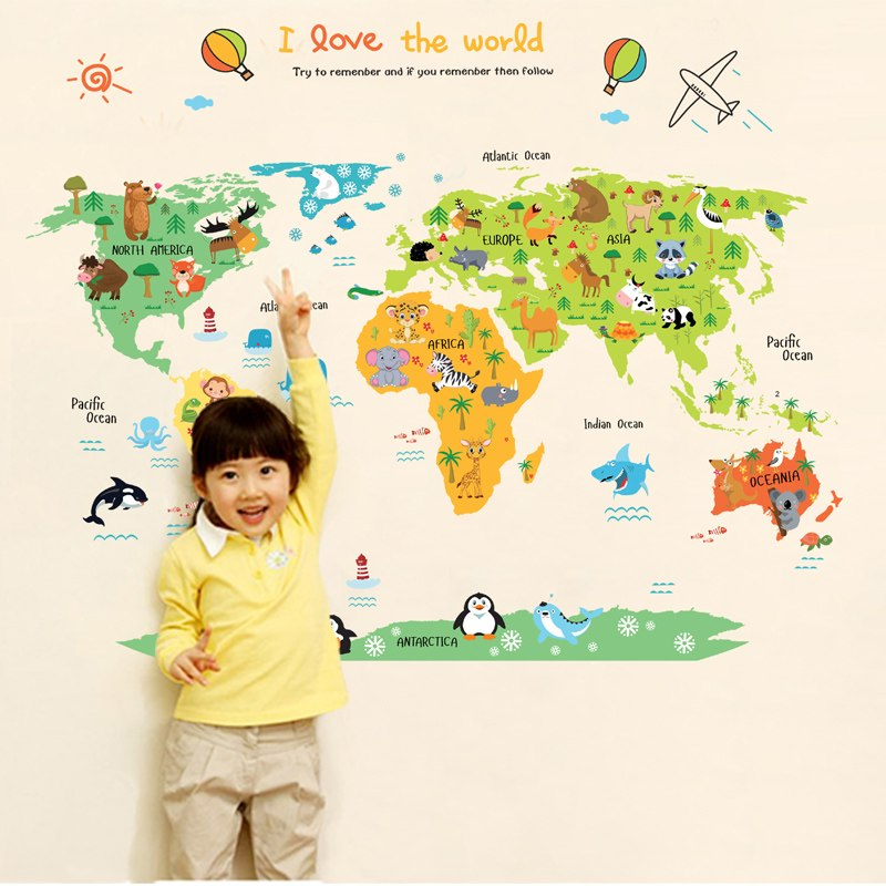 Kids World Map Mural PVC DIY Self Adhesive Vinyl Wall Stickers