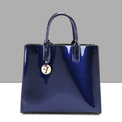 Ashbury Solid Patent PU Lined Leather Handbag -  4 Colors