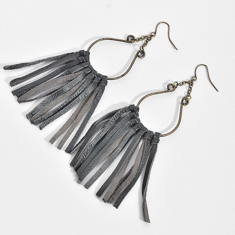 Leather Tassel Earrings For Women