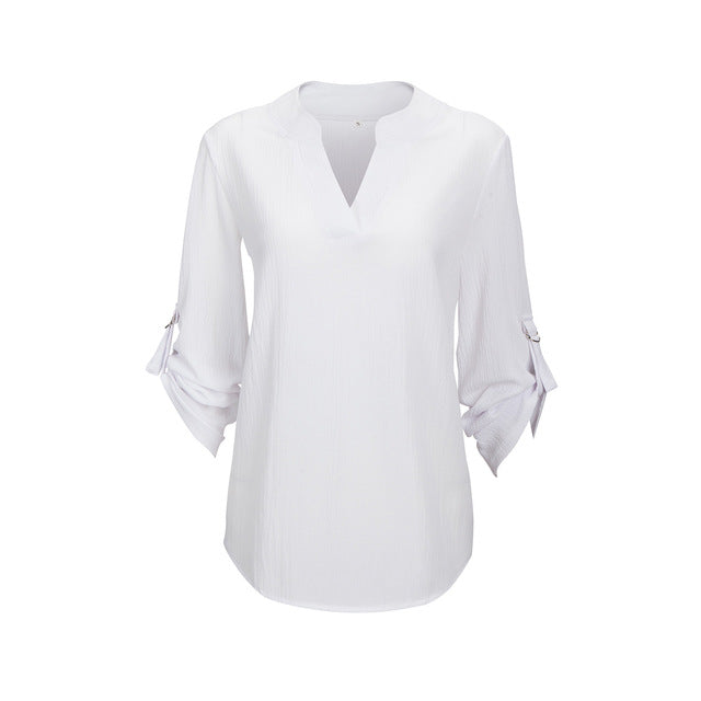 Women's V-neck Chiffon Blouse 3/4 Sleeve - 7 Colors - S-5XL