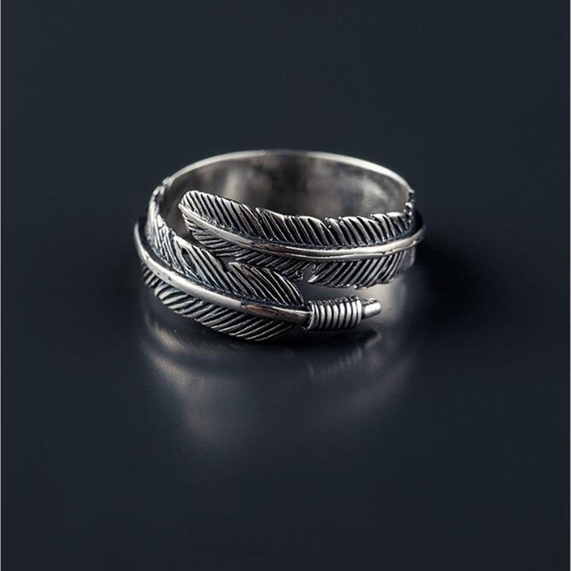 925 Sterling Silver Feathers Arrow Ring Adjustable size