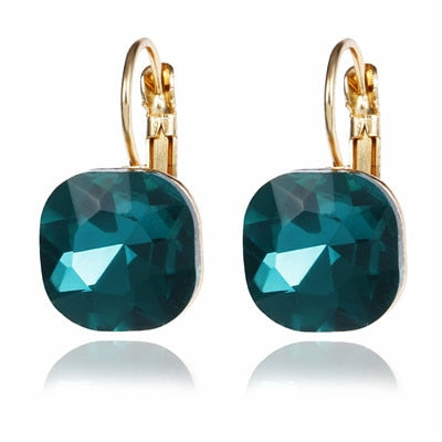 Crystal Lever-back  Earrings -6 Colors