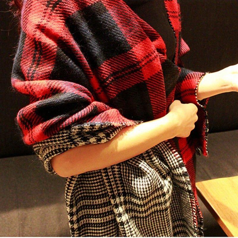 Reversible Warm Shawl Scarf Buffalo Plaid / Houndstooth