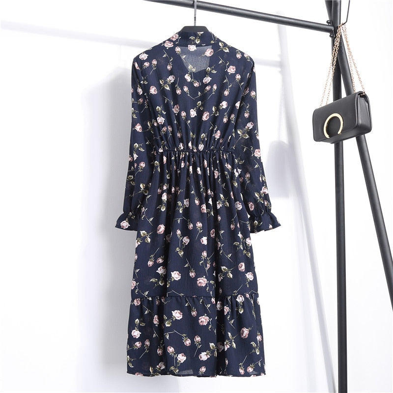 Light Chiffon Floral Print Dress Long Sleeve 10 Colors/prints - S-XL Size