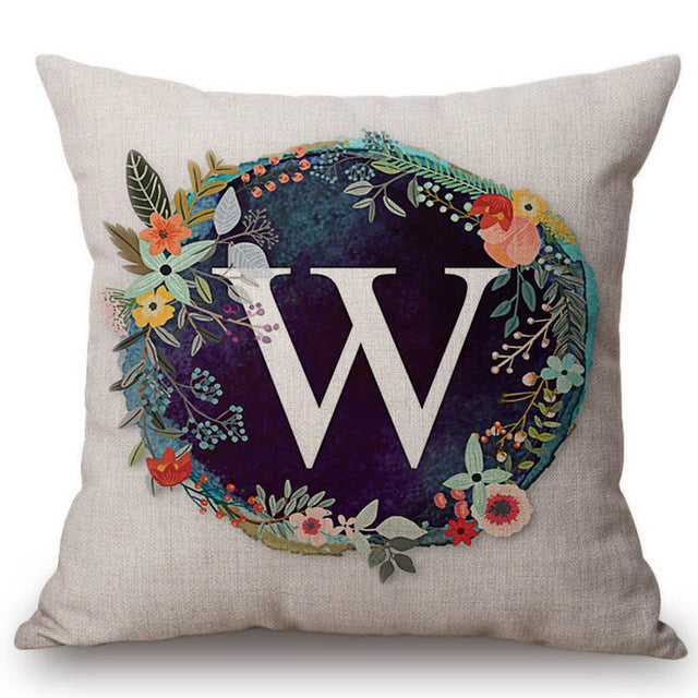 Nordic Flower Monogram Decorative Pillow Cover - 45mmx45mm
