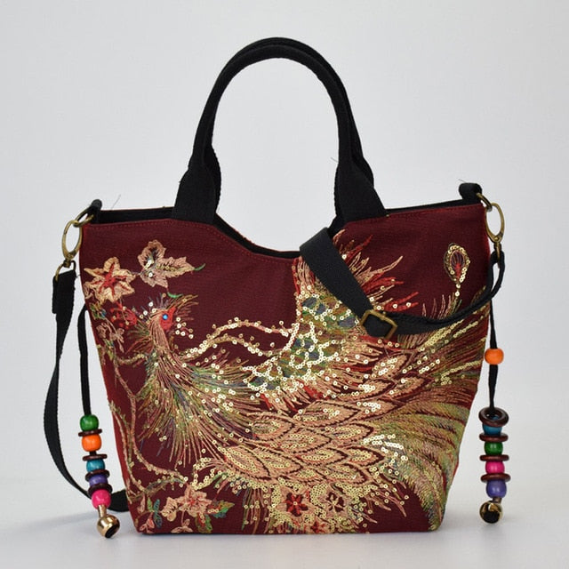 Shimmer Phoenix Peacock Embroidered Canvas Handbag 3 Colors