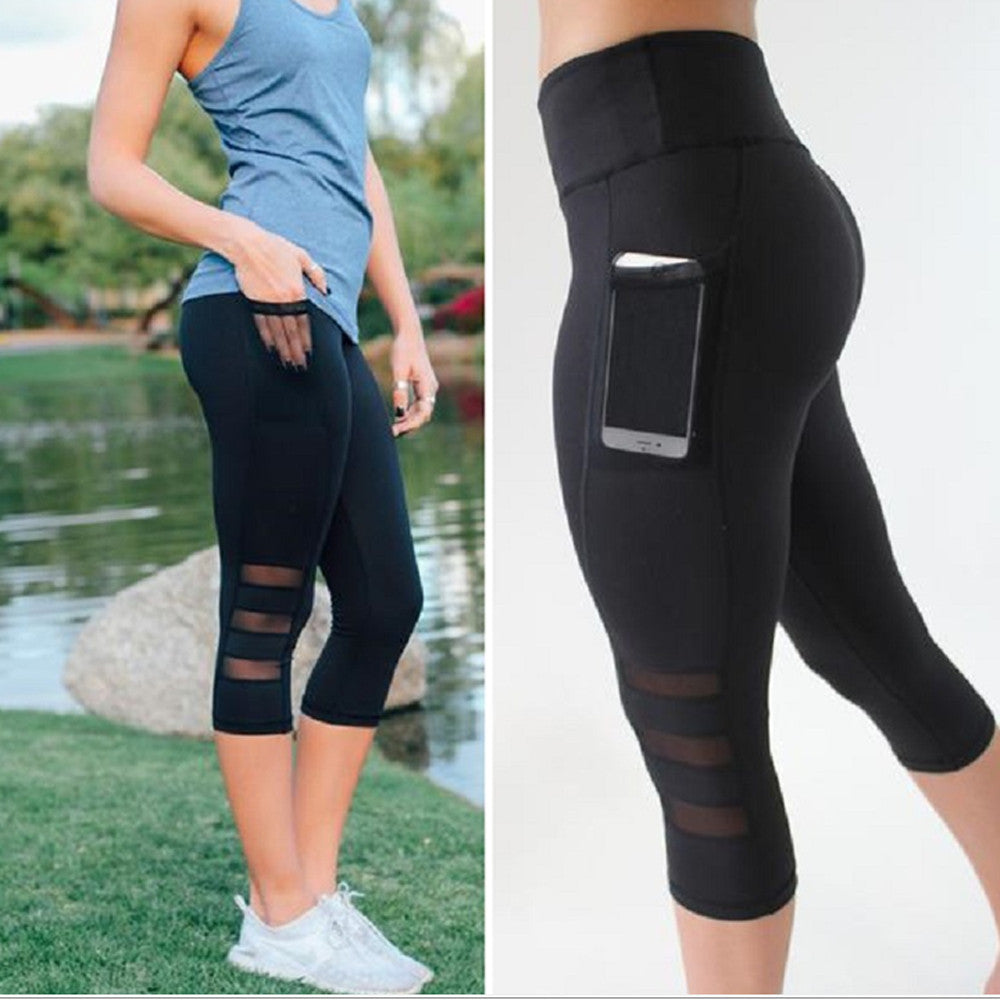 Pocket Mid Calf Mesh Yoga Leggings - S-XL