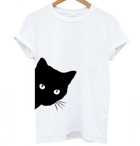 Cat Looking T-Shirt Colors: Gray, Black, White - Sizes: XXS-3XL